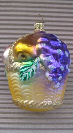 Fruit basket blown glass Christmas ornament from Germany