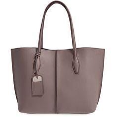 Women's Tod'S 'Medium Joy' Leather Shopper (79.845 RUB) ❤ liked on Polyvore featuring bags, handbags, tote bags, malva, shopping tote bags, shopper tote, leather tote shopper, leather handbag tote and brown leather handbags