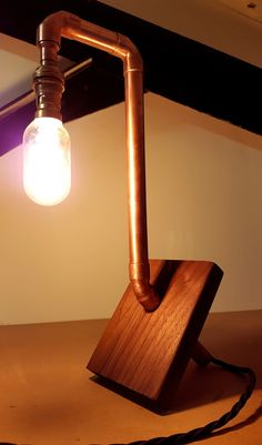 Hand made copper pipe and walnut lamp