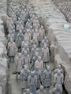Terracotta Warriors, Xian, China = saw an exhibition in Toronto last year with one of these warriors + other objects. so interesting and large! Too far to travel to actually see the real thing.