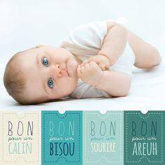 Faire part de naissance original et humoristique  carré, beige et bleu