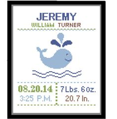 1 Cross Stitch custom Pattern Baby Boy Personalised Birth Announcement Birth Record Whale Blue Green Brown Nature Nautical Nursery Gift