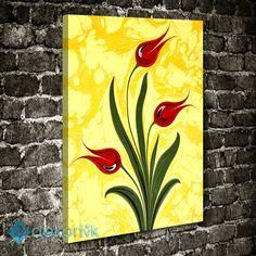 Ebru Kırmızı Laleler Tablo #çiçekli_kanvas_tablo