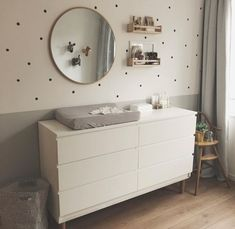 I'm loving the neutral gray in this nursery room. The extra details on the wall . I'm loving the neutral gray in this nursery room. The extra details on the wall and on the floor, makes this a really welcoming room for both parents and child. Baby Boy Room Decor, Baby Room Design, Baby Bedroom, Baby Boy Rooms, Baby Boy Nurseries, Nursery Room, Girls Bedroom, Ikea Baby Room, Wall Design