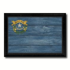 Nevada State Flag Texture Canvas Print with Black Picture Frame Home Decor Man Cave Wall Art Collectible Decoration Artwork Gifts