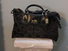 Coach XL12943 black Signature Madison sabrina OP ART purse satchel tote shouldr #Coach #Tote