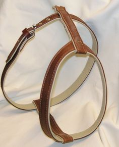 Hand crafted tan on cream leather dog harness by www.newforestcrafts.co.uk