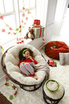 Curl up with a Christmas classic: The Pier 1 Papasan. It's our favorite spot to spend Christmas morning. Just start with a Papasan chair, and then choose your favorite Papasan cushion from our ample selection of colors, patterns and textures. It makes a great gift, but it's OK if you decide to get one for yourself.