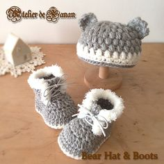 6~12カ月|ファー付きのニット帽とブーツ|グレー 2x Knitting For Kids, Baby Knitting, Baby Supplies, Handicraft, Baby Items, Baby Kids, Baby Shoes, Crochet Patterns, Crochet Hats