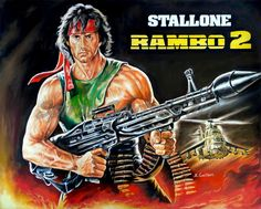 Rambo: First Blood Part II (1985) Sylvester Stallone painting portrait | Canvas print, movie poster