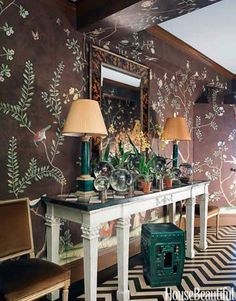 foyer with garden wallpaper
