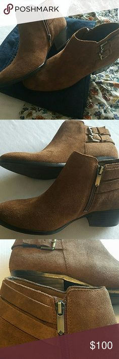Sam Edelman Petal size 7 Rough Out Brown Leather Hard to find Sam Edelman Petal Booties in Rough Out Brown Leather. SIZE 7. Brand new and have never been worn. Ankle bootie with strap and buckle detailing. Zipper closure. Detailed zipper. Rounded toe. 1.75 inch heel, 3 inch shaft. Sam Edelman Shoes Ankle Boots & Booties