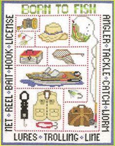 Born to Fish Cross Stitch Chart. http://www.kayewood.com/item/Born_to_Fish/2719/m141 $7.50