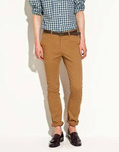 CHINO TROUSERS WITH BELT - Trousers - Man - ZARA United States