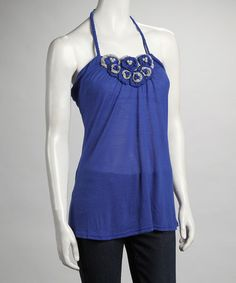 Take a look at this Royal Crochet Flower Halter Top by Ruby Rose on #zulily today!