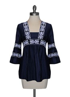 Embroidered Silk Tunic in Navy