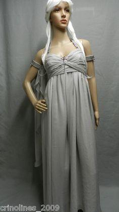 Game of Thrones Khaleesi Daenerys Targaryen Wedding Dress Gray Chiffon Replica | eBay