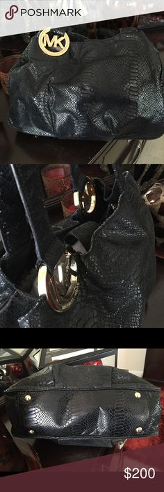 "Rare Michael Kors Fulton E/W Tote in Black ""Python Beautiful bag! Three sections inside. Some makeup markings on inside lining. The gold ""MK"" emblems are huge! 2 3/4"" across and 1/4"" thick!! Purse measures 15""x10.5"". Trade value higher Michael Kors Bags"