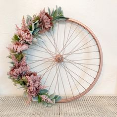 Bike Wheel Wreath/ Large bike wheel wreath for farmhouse decor. Add a pretty ribbon to Diy Spring Wreath, Pink Wreath, Tulle Wreath, Winter Wreaths, Burlap Wreaths, Holiday Wreaths, Farmhouse Wall Decor, Rustic Gardens, Nursery Wall Decor