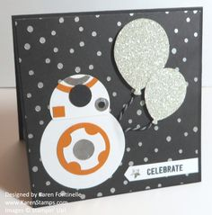 Star Wars Inspiration BB8 Punch Art Handmade Birthday Card. Just use various punches to make this fun card!