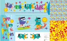 Monster Surfers Bedding Accessories fabric by edmillerdesign on Spoonflower - custom fabric