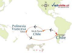 VC126 Tours visitando Santiago de Chile - Isla de Pascua - Tahiti Papeete Morea y Bora Bora