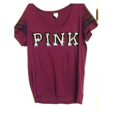 Vs pink tee I only wore it once and it's a very beautiful top. There are no missing sequins or damage to the shirt. I can sell cheaper on Ⓜ️ercari just ask :) PINK Victoria's Secret Tops Tees - Short Sleeve