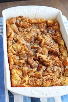 Easy Baked French Toast Casserole Absolutely love this!!! Made it first time for breakfast and served with bacon n sausages. My guests loved it! Made it a second time as a dessert n served with vanilla ice cream n hot chocolate sauce...absolutely gorgeous!!! Thank u for the recipe.