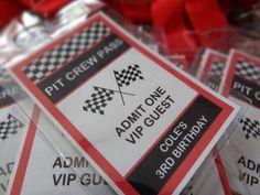 Race Car Party VIP Pit Crew Passes
