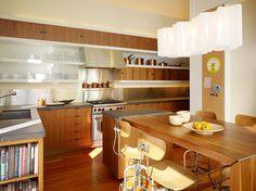 Buena Vista Residence - modern - kitchen - san francisco - Schwartz and Architecture Open Kitchen Cabinets, Kitchen Shelves, Kitchen Dining, Open Shelves, Kitchen Islands, Wood Cabinets, Dining Set, Kitchen Storage, Dining Room