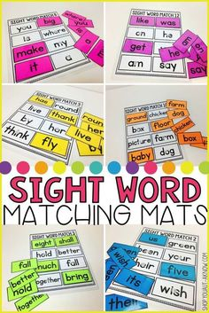 Laminate, Velcro, and Go! Anytime Sight Word Matching BUNDLE : Work tasks are everything in the Special Education classroom. These 75 sight word matching mats are perfect for independent work in your work stations. Teaching Sight Words, Sight Word Activities, Sight Word Practice, Phonics Activities, Literacy Activities, Kindergarten Reading, Teaching Reading, Kindergarten Sight Words, Kindergarten Literacy Stations