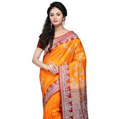 Orange and Maroon Art Banarasi Silk Saree with Blouse