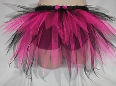 Volwassene dames zwart Neon roze halve Tutu drukte