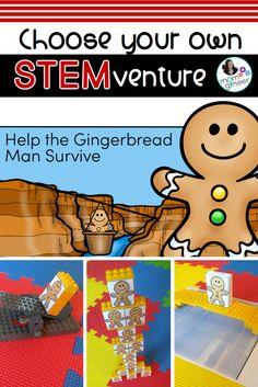 Gingerbread man STEM challenges! Perfect for Christmas time or the holidays, join the gingerbread man on an epic journey of survival. Students read the story, choose their adventure, and design and create a bridge, tent, zip line, tower, catapult, and more. | Meredith Anderson - Momgineer