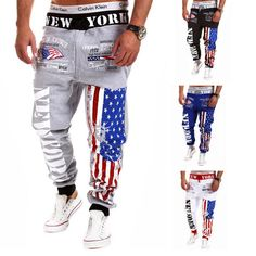 2016 New Men's Casual Letters Flag Printed Lace Pants Jogger Male Personality Outdoor Fashion Sports Pants Free Shipping