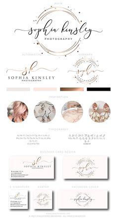 Rose Gold Logo Design,  Rose Gold Branding kit, Premade Branding Kit,Rose Gold  Business Card Design, Circle Logo, Stamp Logo, Calligraphy by PeachCreme on Etsy