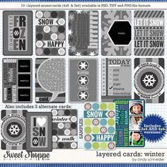 Cindy's Layered Cards: WINTER by Cindy Schneider  4x6 and 3x4 versions included  perfect for project life and more!