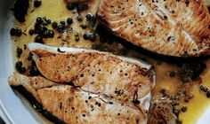 Butter Basted Halibut Steaks with Capers . Get the pan smoking hot so the halibut won't stick. Let it get a good sear on the first side, which will also help it release. Seafood Dishes, Seafood Recipes, Cooking Recipes, Grilled Halibut, Grilled Fish, Quick Fish, Halibut Recipes, Halibut Steak Recipe, Gourmet