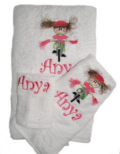 Custom embroidered Bike Girl Towels with personalization