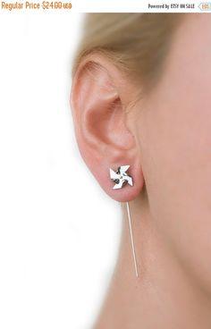 ON SALE, Cyber Monday, Pinwheel earrings, stud earring pins, mini windmill, windmill jewelry, minimal earrings, silver earrings cute little by largentolab on Etsy https://www.etsy.com/listing/91713487/on-sale-cyber-monday-pinwheel-earrings