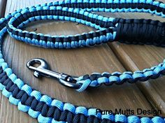 ICY BLUE and BLACK Paracord Leash, Pick your Length!