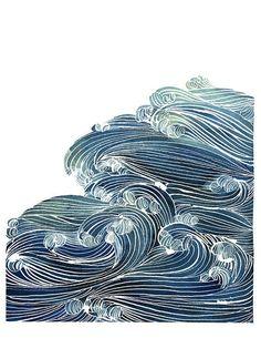 Image result for japanese water ocean illustration