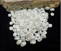 Super Duo Beads, Snow Pearl Coat