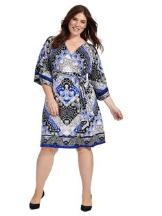 Kimono Sleeve Wrap Dress by INC International Concepts Available in sizes 1X-3X