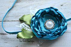 Newborn Turquoise Satin Photo Prop Headband by ThePetitBowtique, $10.50
