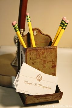 Old Metal Matchbox Holder...re-purposed into a one-of-a-kind prim pencil & business card holder.  Picture only for inspiration.