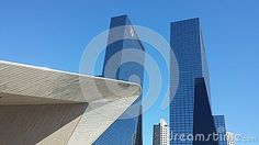 Rotterdam Central Station roof and skyscrapers