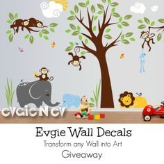 {ends 10/2} Looking to beautify your wall space? Evgie Wall Designs will make the impossible possible.  These beautiful wall decals will make any themed nursery come alive and full of illustration!