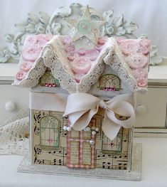 DIY::Paper house from Kathy Elizabeth. Cute for a baby girl or woman who loves shabby chic. Noel Christmas, Pink Christmas, Vintage Christmas, Christmas Crafts, Christmas Ornaments, Xmas, Christmas Paper, Christmas Decorations For The Home, Holiday Decor