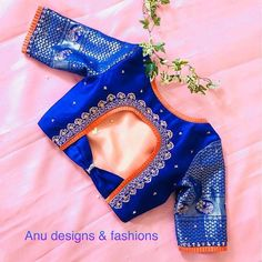 Find here the most unique blouse designs for south indian brides. From bird motifs to long sleeves, blouse for silk sarees to kanjeevarams, we have it all. Blouse Back Neck Designs, Simple Blouse Designs, Stylish Blouse Design, Fancy Blouse Designs, Bridal Blouse Designs, New Saree Blouse Designs, Salwar Designs, Saree Blouse Patterns, Lehenga Blouse